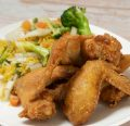 Chicken Wings with Vegetables Fried Rice